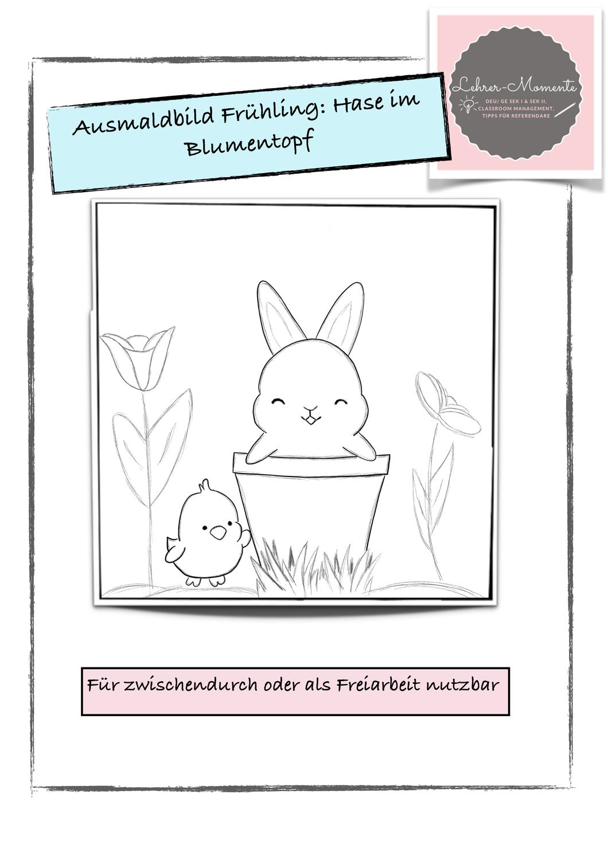Ausmalbild Hase Im Blumentopf Unterrichtsmaterial In Den Fachern Fachubergreifendes Kunst Ausmalen Ausmalbild Kunst Grundschule