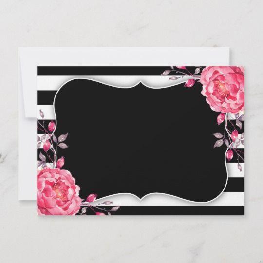Black White Stripe Wedding Bridal Shower Thank You Zazzle Com White Stripes Wedding Striped Wedding Pink Scrapbook Paper
