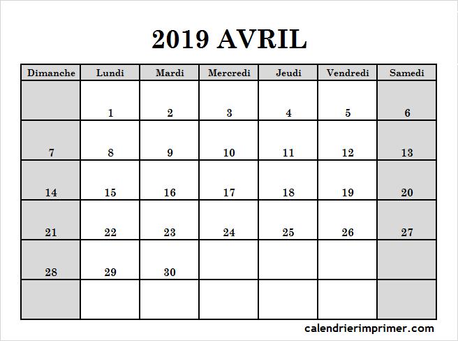 Blanc Modele Calendrier Avril 2019 Vacances A Imprimer