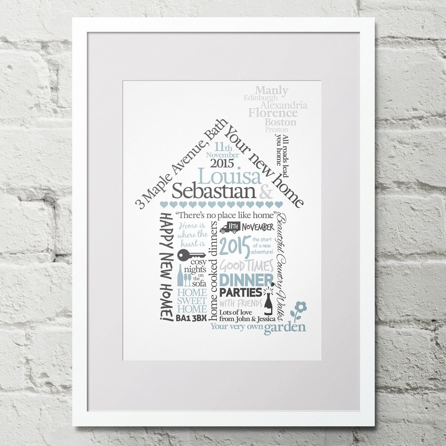 Personalised New Home Gifts New Home Gift House Warming Print Personalised Word Art Art