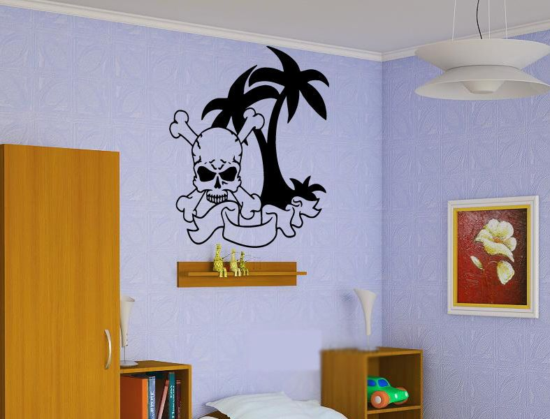 Pirate Bay Island Sticker Wall Vinyl Kids Adventure Silhouette Mural Gift #120 #HomeOfStickers