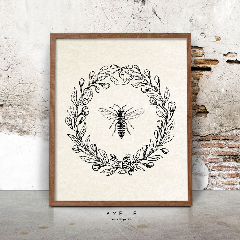 bee print farmhouse printable french country decor rustic cottage