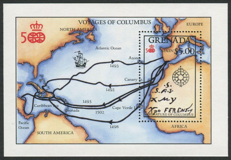 Grenada Scott 27 Apr Souvenir Sheet Map Of