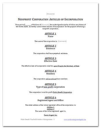 FREE CALIFORNIA PUBLIC BENEFIT NONPROFIT ARTICLES OF INCORPORATION - microsoft articles of incorporation
