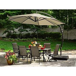 Garden Oasis 11 5 Ft Steel Round Offset Umbrella W Sand Base Patio Outdoor Patio Umbrellas Patio Umbrella