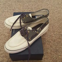 Sperry Biscayne shoes Perfect for spring and summer! White with polka dot accent. Size 7. New! Sperry Top-Sider Shoes Flats & Loafers