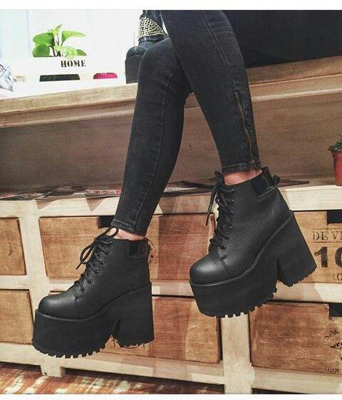 Zapatos Negros Moda Ropa Tumblr Zapatos 2017 Botas Plataforma Enana RfvIIwq
