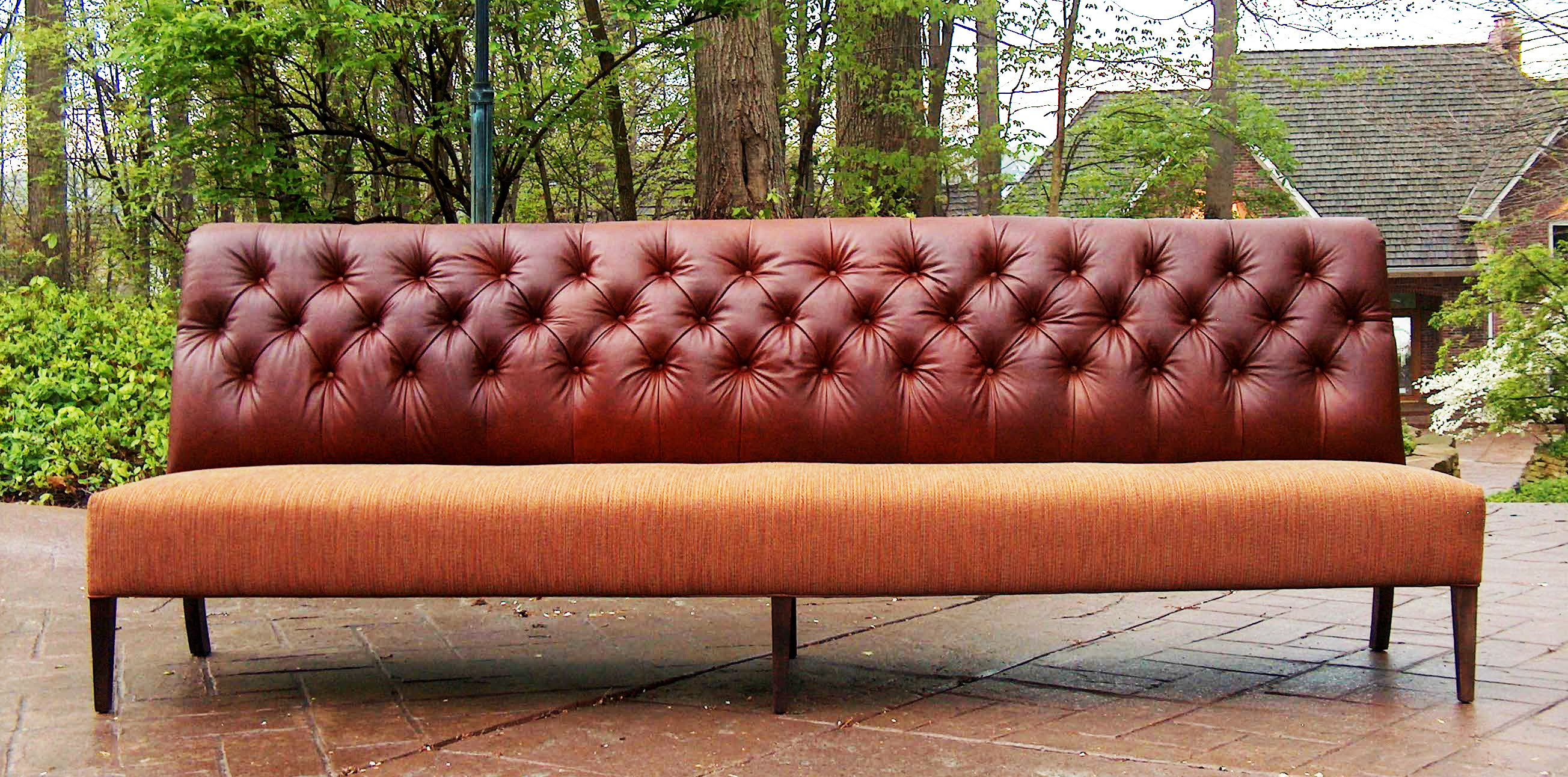 Leather Settees Or Banquettes Triple Tufted Pull Up Leather Back Banquette Tls By Design