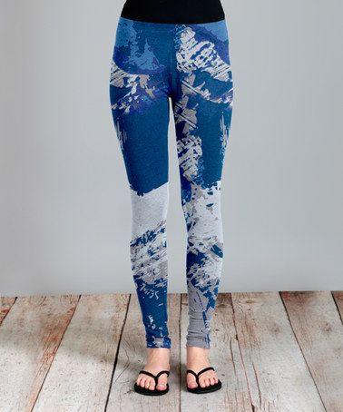 Look what I found on #zulily! Blue Abstract Leggings - Plus #zulilyfinds
