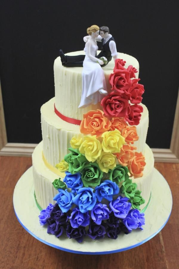 Rainbow Rose Wedding Cake Cake By Cakesannietime With Images