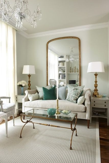 Sarah Richardson - grown-up condo off-white with accents of mint