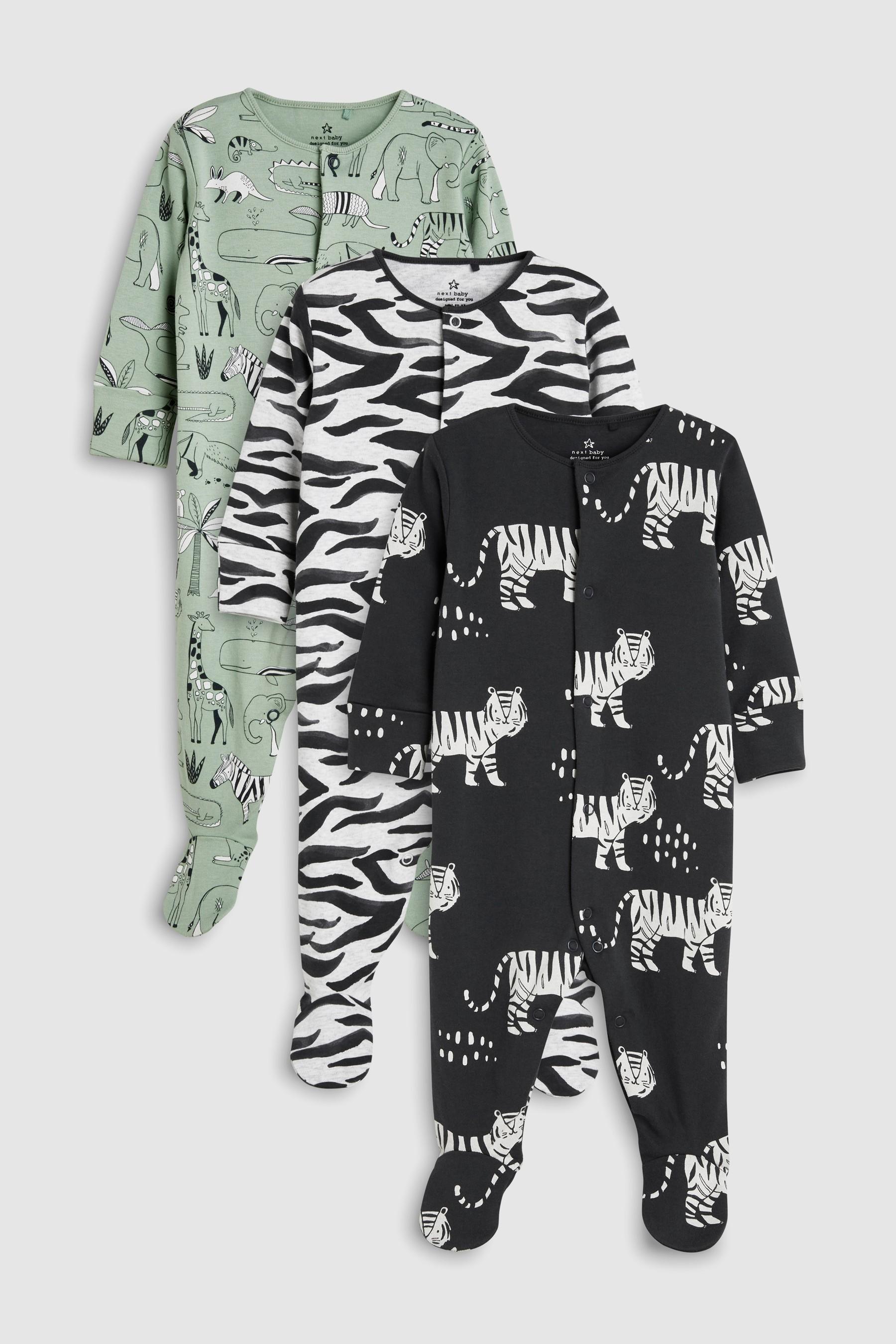 9e2ea0851 Animal Character Print Sleepsuits Three Pack (0mths-2yrs)