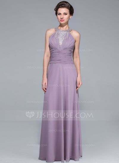 [US$ 147.00] A-Line/Princess Scoop Neck Floor-Length Chiffon Mother of the Bride Dress With Ruffle Beading Cascading Ruffles  - JJ's House