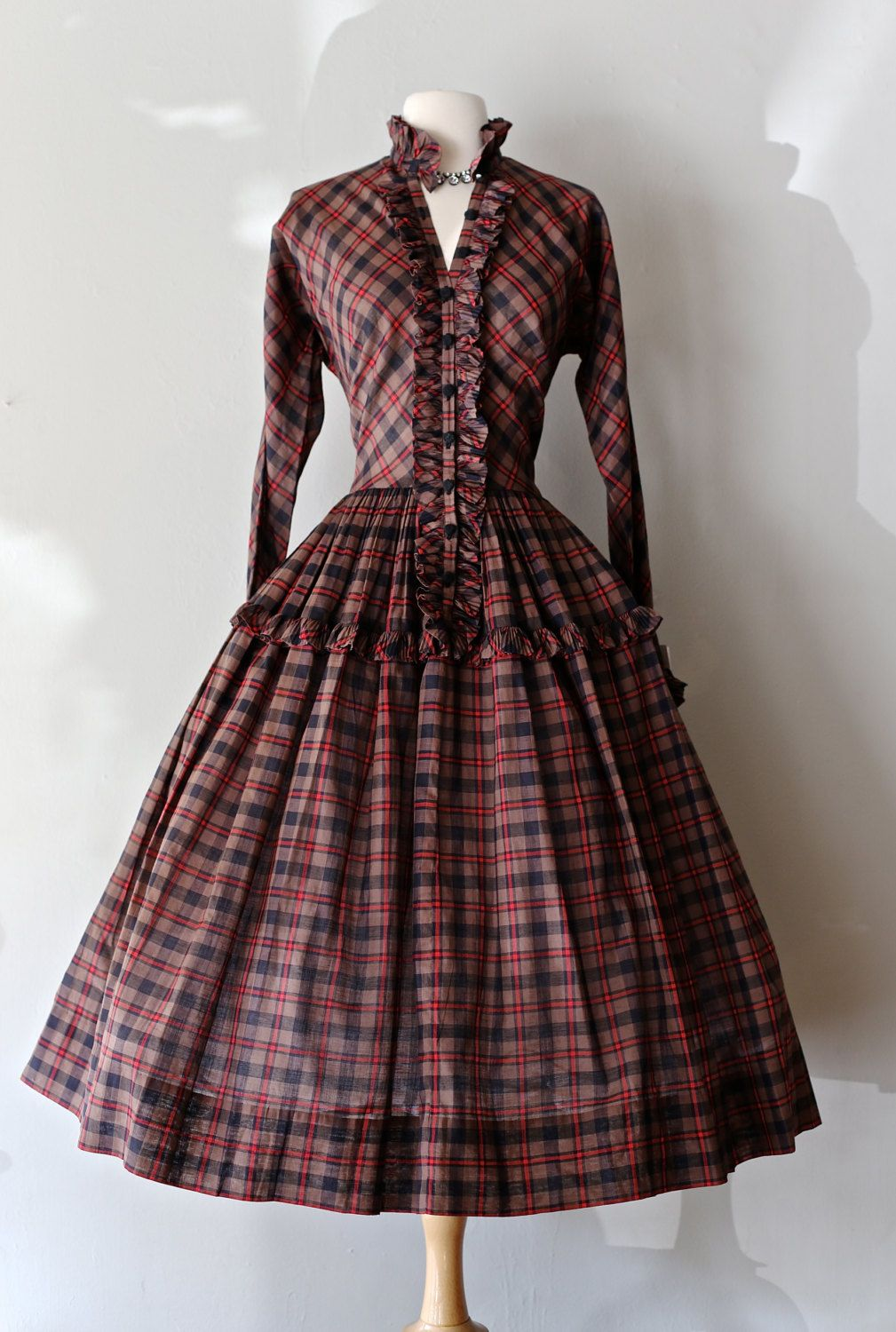 9d4a70cd8 Rare 1950s Claire McCardell Dress ~ Vintage 50s Plaid Dress With Full Skirt  ~ Vintage Claire McCardell Dress by xtabayvintage on Etsy
