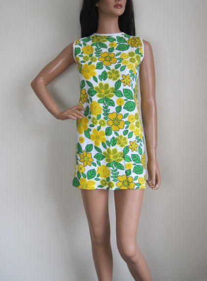 Vintage 1960s Flower Power Towelling Mini Beach Dress available to buy online at Virtual Vintage Clothing £15
