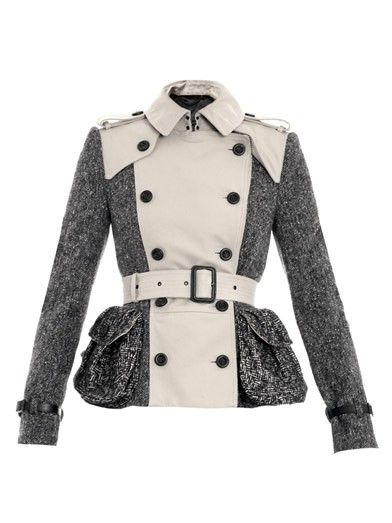 BURBERRY Prorsum Gaberdine and tweed trench jacket $1200  http://hollyrotic.mybigcommerce.com/burberry-prorsum-gaberdine-and-tweed-trench-jacket-1200/