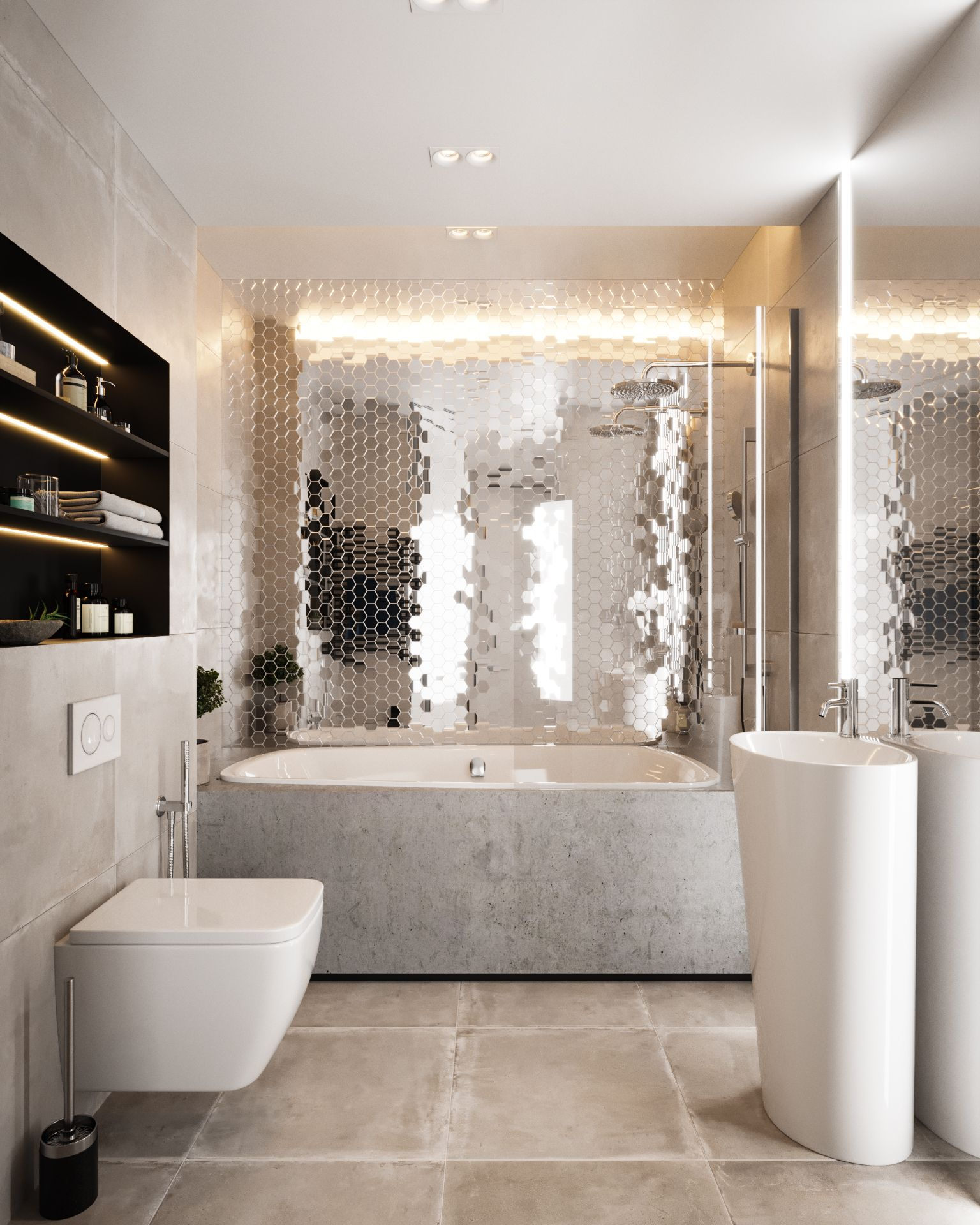 If You Want To Turn Bathroom Into Glamour Room You Need Mirror Mosaic Mirrored Tiles Are The Mediu Bathroom Design Bold Bathroom Tile Master Bathroom Design