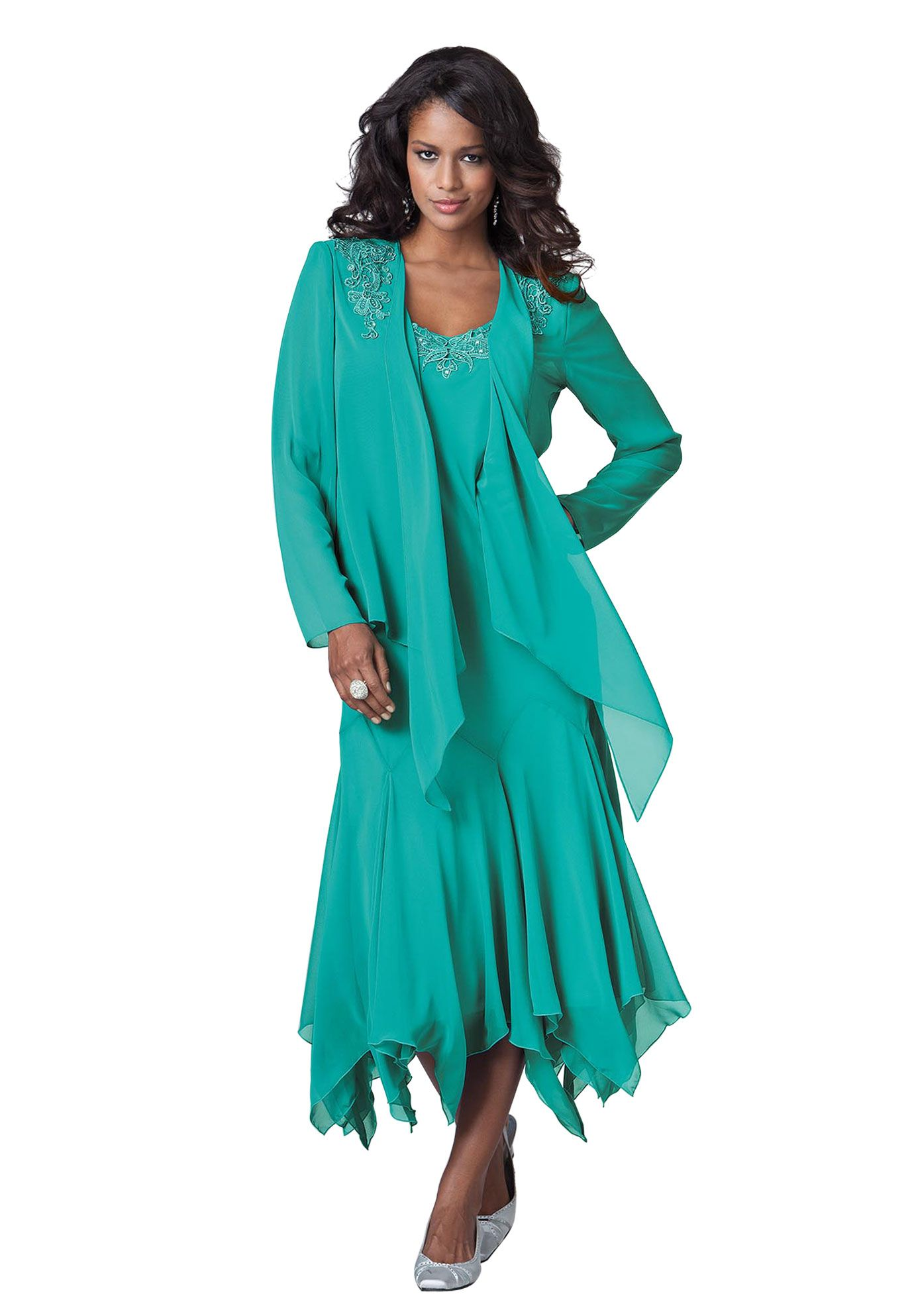 Jacket Dress With Beaded Hanky Hem Plus Size Separates And Sets Roamans