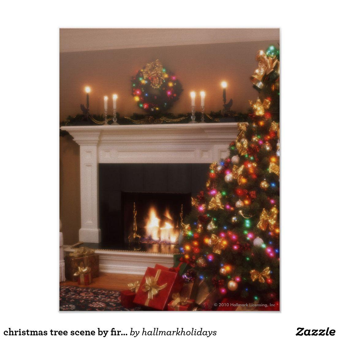 Christmas Tree Scene By Fireplace Christmas Poster Custom