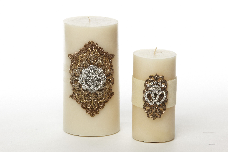 Moda dora x ivory double heart crown candle moda dora