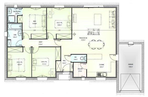 r sultats de recherche d 39 images pour plan de maison 4 chambres coucher plain pied. Black Bedroom Furniture Sets. Home Design Ideas