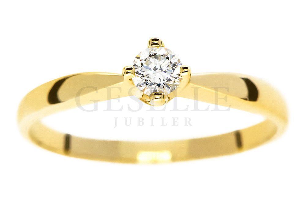 Ponadczasowy Klasyczny Pierścionek Zaręczynowy Ze Złota Z Brylantem