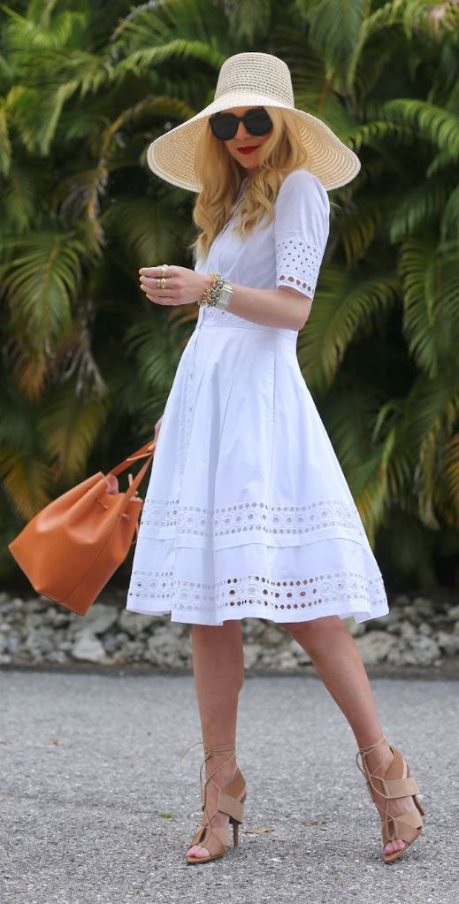 Just The Dress Not The Hat You Could Wear A Colored Slip Under It Too And Have Color Peek Thru Between The Holes A White Dress Summer Summer Fashion Fashion