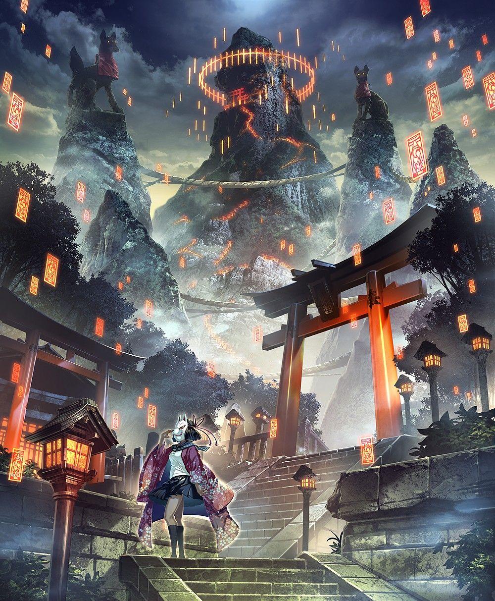 赤灯籠が続く階段 鳥居 御札 狐 神社 イラスト 鳥居 イラスト ファンタジーな風景