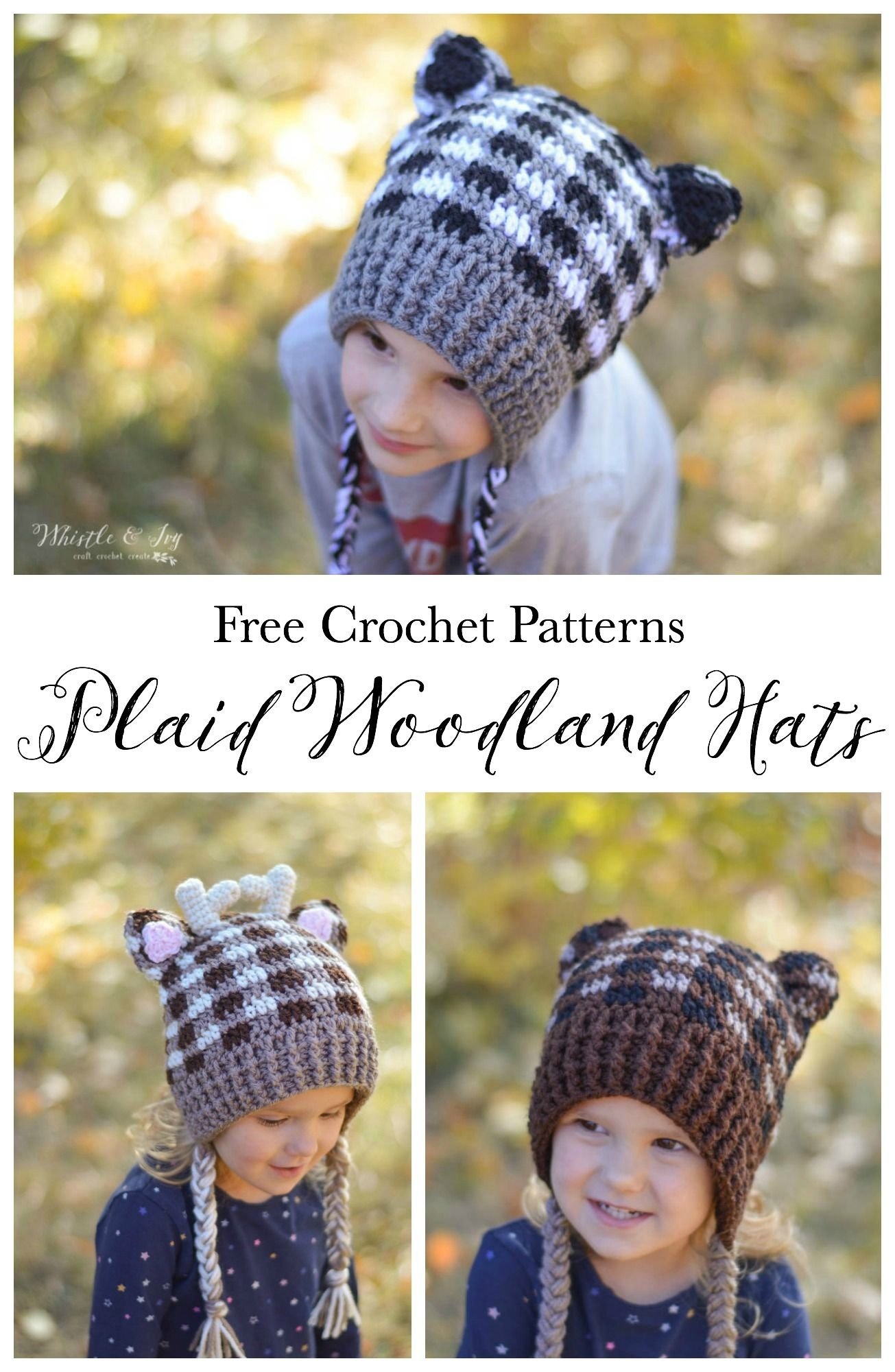Plaid Woodland Animal Hats | Ganchillo facil, Mapache y Gorros