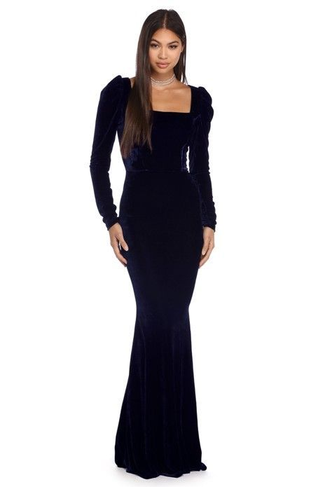 Anika Navy Velvet Evening Dress | WindsorCloud | My dress | Pinterest