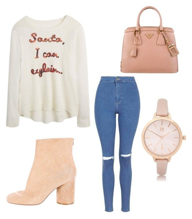 """Untitled #38"" by tkmmmm ❤ liked on Polyvore featuring Topshop, Maison Margiela, Prada and River Island"