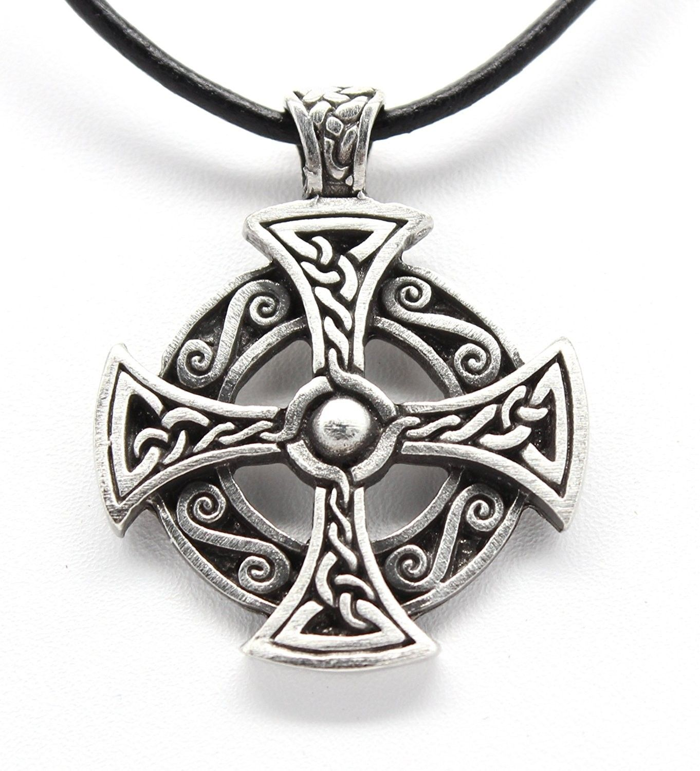 Pagan Circular Green Man Pewter Pendant on Leather Necklace