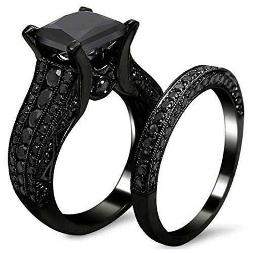 AMIERY Black Gold Sapphire Princess Cut CZ Wedding Engagement Band
