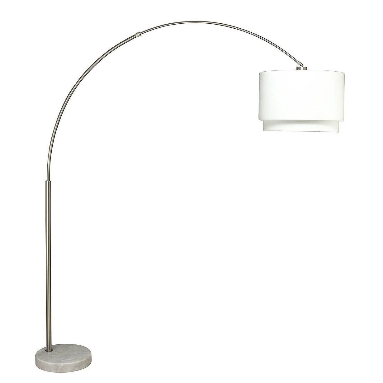 Q-Max Steel Double Shade Adjustable Arching Floor Lamp with Marble Base,  White