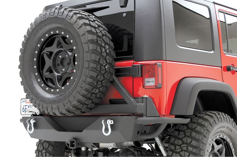 Smittybilt Rear Src Bumper With 2 Receiver Swing Away Tire Carrier In Textured Black For 07 12 Jeep Wrangler Wrangler Unlimited J Coches Autos Transporte