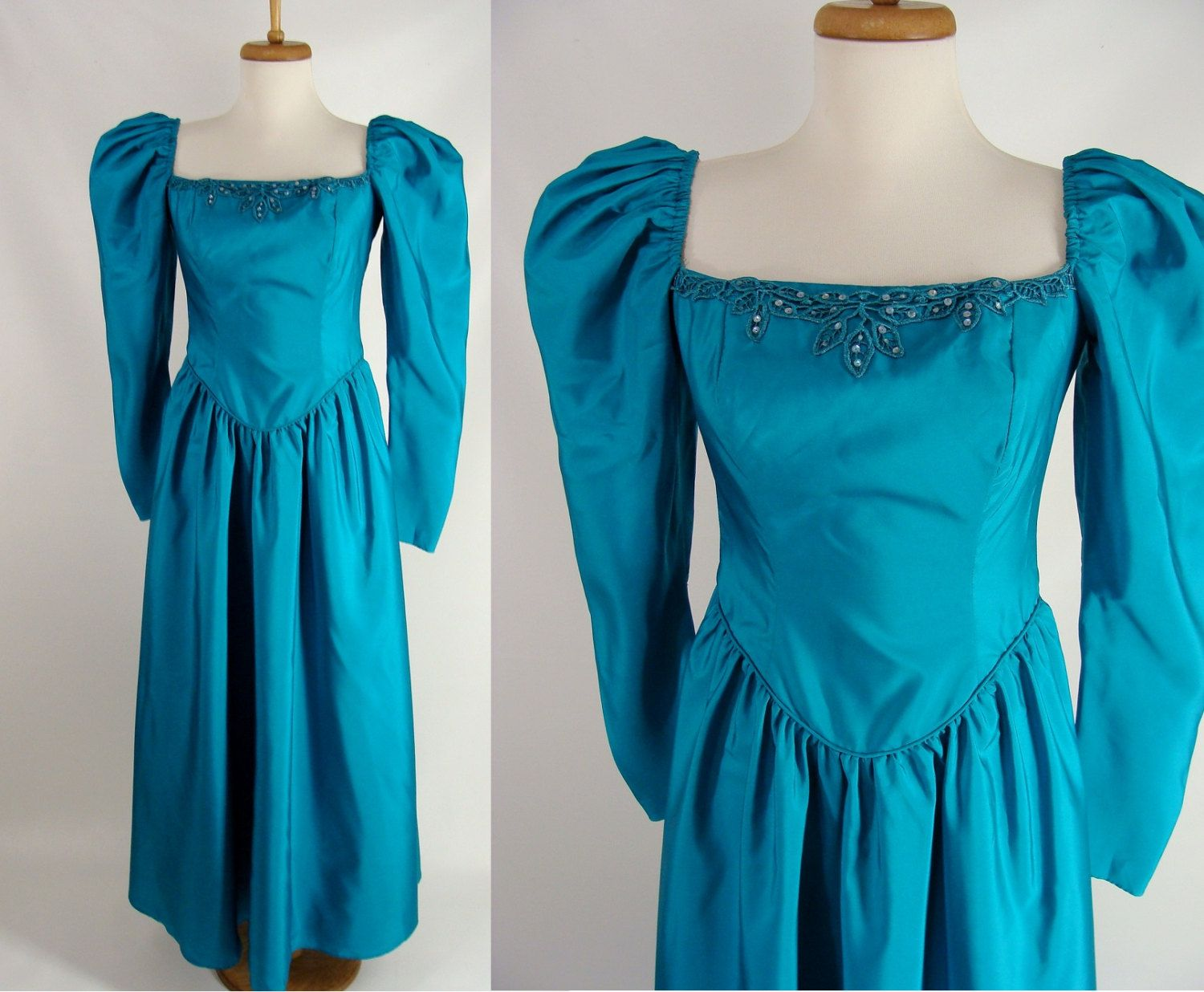 $38.88 vintage 80s 90s Teal Turquoise Blue Green Puff Sleeve Prom ...