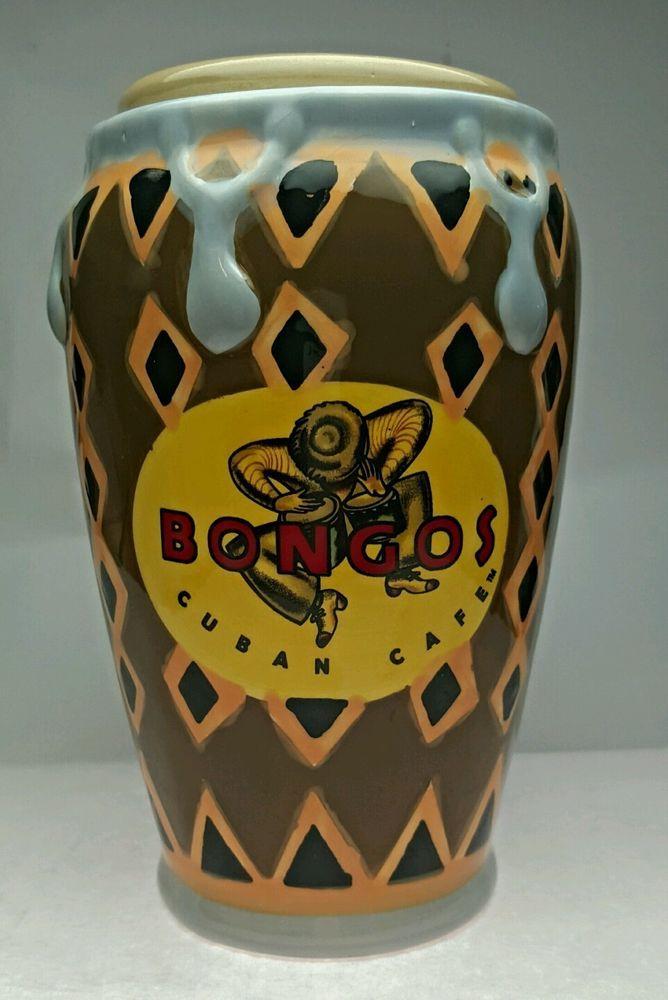 Bongos Cuban Cafe Congo Mug Drum Brown 16oz. Straw hole Lid USA Seller