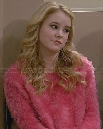 Lennox's pink fluffy sweater on Melissa and Joey.  Outfit Details: http://wornontv.net/29033/ #MelissaandJoey