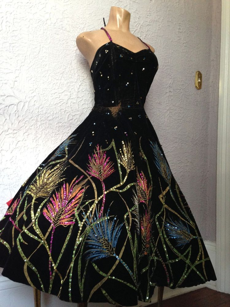 Vintage 50 S Hand Painted Velvet Dress Burlesque Mexican