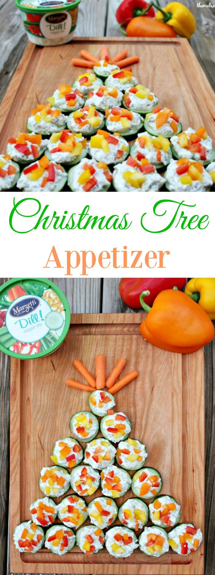 Christmas Tree Appetizer is a simple and perfect appetizer idea that the whole family will love this holiday season. #ad #marzetti