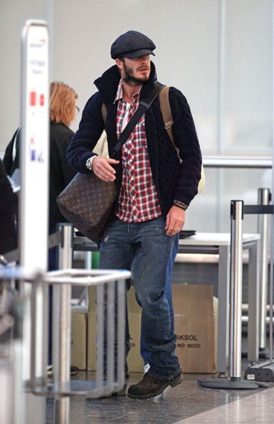 aff962d39eb Love minus the louis vuitton bag (too much) but plaid o yes! David Beckham