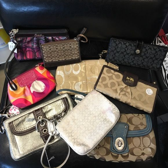 Coach WRISTLET All 9 wallets ( 5 wristlets, 2 chain purses and 2 check book holders) for $200 all in great condition Coach Bags Clutches & Wristlets