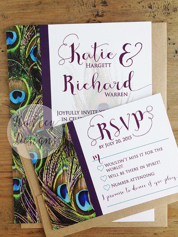 hadley designs peacock wedding invitations - Peacock Wedding Invitations