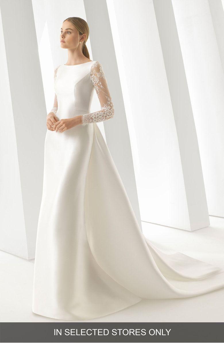 Rosa Clara Doreen Long Sleeve Column Wedding Dress With Removable Train Nordstrom Column Wedding Dress Elegant Wedding Dress Embroidered Wedding Dress