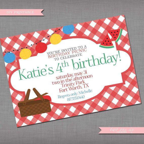 Gingham birthday invitation printable birthday picnic invitation gingham birthday invitation printable birthday picnic invitation filmwisefo