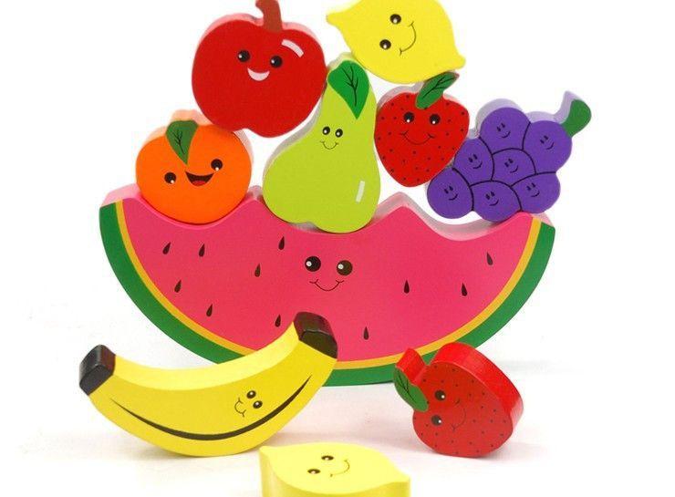 mobilia nathan 1pc baby educational balancing blocks toys fruite wooden
