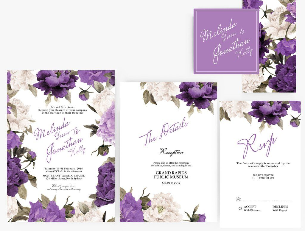 Invitations Word Template Pleasing Diy Word Template Wedding Invitation Stationary Set  Editable Word .
