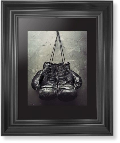 Boxing Gloves Framed Print, Black, Classic, None, Black, Single piece, 8 x 10 inches, White