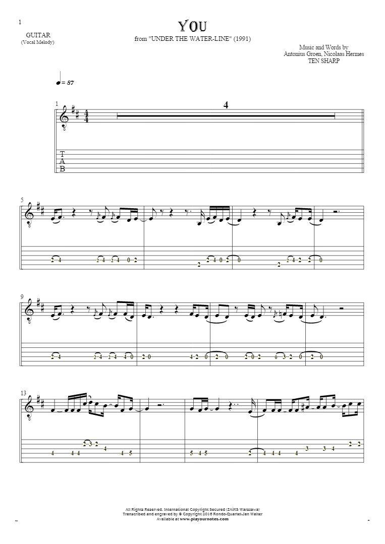 You Notes And Tablature For Guitar Melody Line Playyournotes