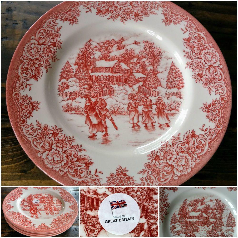 New Royal Stafford 4 Christmas Dinner Plates Red Ice Skating England 11 Royalstafford Christmas Dinner Plates Dinner Plates Royal Stafford